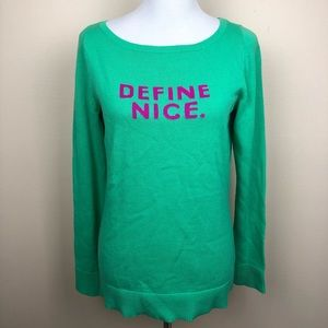 Lilly Pulitzer NWOT green Define Nice sweater
